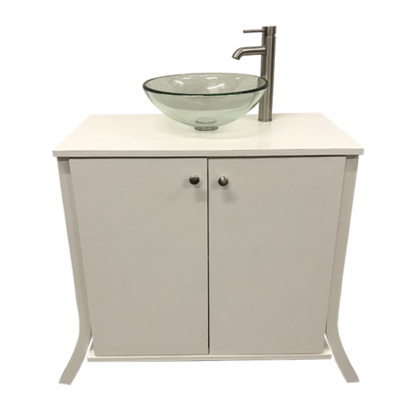 glass bowl sink with portable bathroom vanity