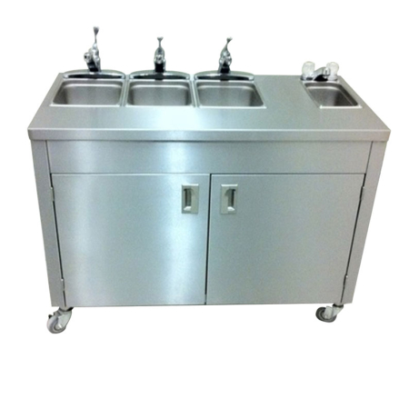 Portable commercial Stainless Steel sink 4 Compartment